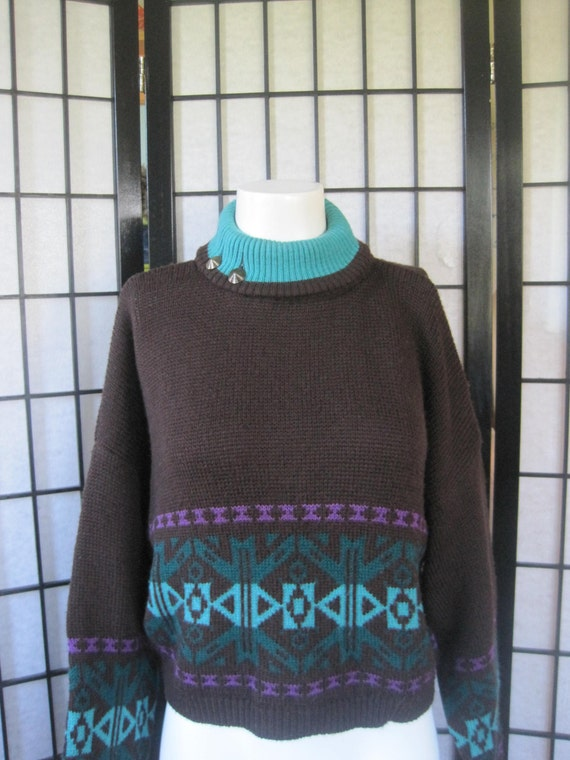 Vintage Cropped Sweater by Benetton Italian Brown Turquoise Blue Green