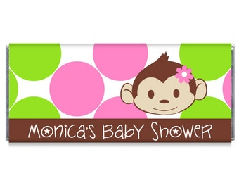 Mod Monkey Girl Baby Shower Personalized Candy Bar Wrappers - Mod Monkey Baby Shower Favors