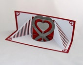 MOTHER'S Day Card w/STAIRS to Her HEART Pop Up 3D Card, Handmade Geometric Design Origamic Architecture in White Metallic Red & Silver OOaK