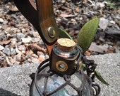 Deluxe Glass Earth Fairy bottle with leather netting and leather frog holster for belt - MADE TO ORDER - Custom