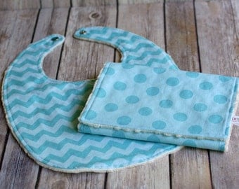 SALE Aqua Blue Minky Baby Bib & Burp Cloth Gift Set, Baby Boy Minky Bib, Minky Burp Cloth, Baby Gift Set, Baby Shower Gift, READY to SHIP