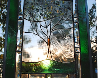 Stained Glass Window Panel personalized family tree leaded glass panel