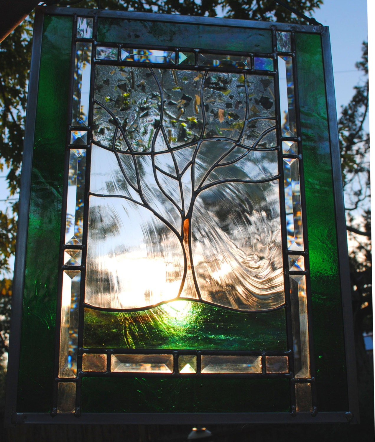 Stained glass window panel personalized family tree leaded
