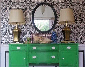Kelly Green Handpainted Empire Dresser. Hallway. Chinoiserie Inspired. Eclectic home. Fig House Vintage. Atlanta