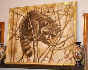 Large Mantel Sized Racoon Painting. Hunting Den. Man cave Painting. Man Cave. Woodsman Oversized Original