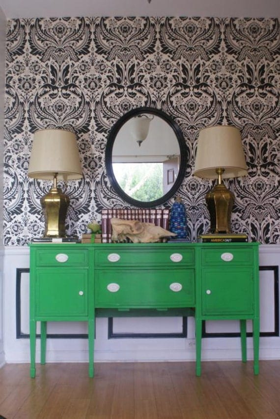 Kelly Green Handpainted Empire Dresser. Hallway. Foyer Piece. Chinoiserie Inspired. Eclectic home. Enchanted Fig Tree. EFT Atlanta