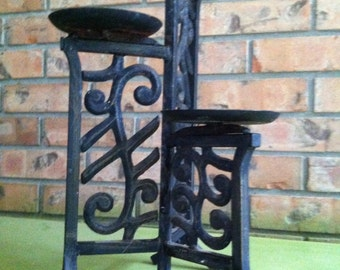 Iron candle stand, pillar candle holder, scrolls iron candle holder