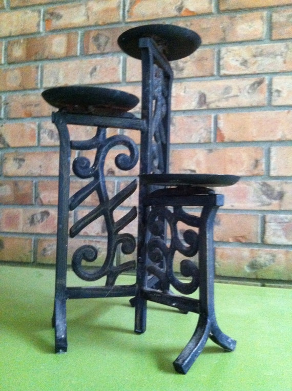 Iron Candle Stand Designs : Iron candle stand pillar holder scrolls