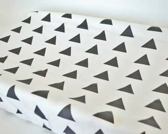 Changing Pad Cover Black Triangle - ModFox Exclusive- Black Changing Pad- Triangle Changing Pad- Monochrome Changing Pad- Minky Changing Pad