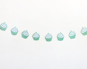 Paper Cupcake Banner, Dessert Party Supply, Green Polka Dots, Seafoam Bunting Banner, Birthday Party Streamer, Sweet Treat Decor
