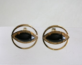 La Mode Cuff Links Black Onyx Cuff Links Cat Eye 10K GoLD FiLL Elegant Cuff Links from The Back Part of the Basement FREE US SHIPPING