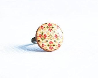 Adjustable orange ring, boho style, round bright ring, multisize ring