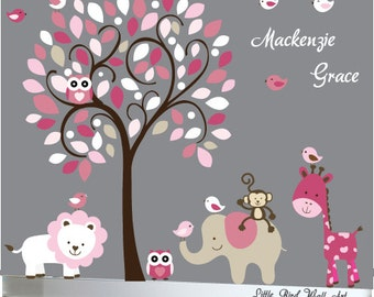 Jungle animals and tree wall decal design