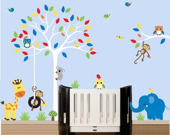 Boy wall decal jungle tree decal wall sticker set