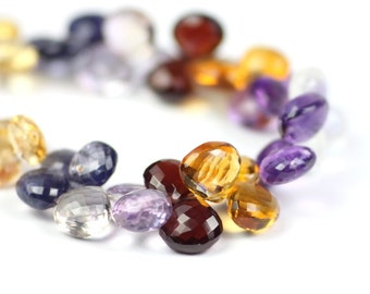 Multi Gemstone Micro Faceted Heart Briolettes Set of 4 Pieces Grab Bag Multi Semi Precious Gemstones