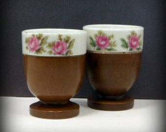 Sale Egg Cups Egg Servers Pair Porcelain Wood Pink Roses Vintage 1960s Nevco Japan