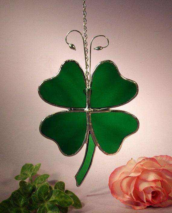Stained Glass Suncatcher Lucky Four Leaf Clover  (425)