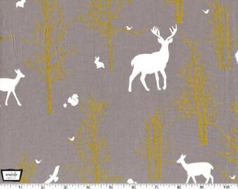 Brambleberry Ridge - Timber Valley Fog Gray by Violet Craft - Cotton Print Metallic Fabric from Michael Miller