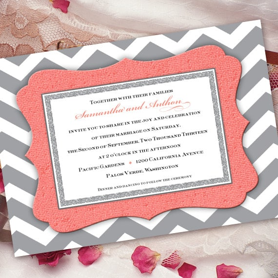 wedding invitations, bridal shower invitations, coral and gray chevron wedding invitation, gray and coral shower, coral graduation, IN259