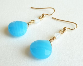 Turquoise Blue Gold Earrings