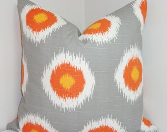 Grey Orange White Ikat Pillow Cover Decorative Pillow Throw Pillow 18x18