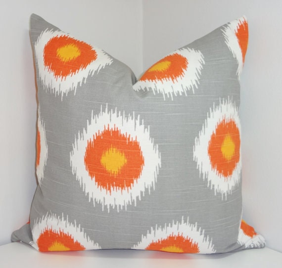 grey orange white ikat pillow cover decorative pillow throw. Black Bedroom Furniture Sets. Home Design Ideas