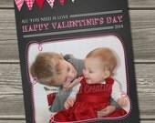 Chalkboard Valentines Photo Card, Valentine's Day Card (Digital File) - I Design, You Print
