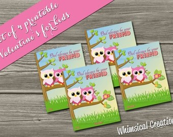 INSTANT DOWNLOAD Kids Valentines Cards (Set of 4 Owl be my Valentine Design) DIY Printable