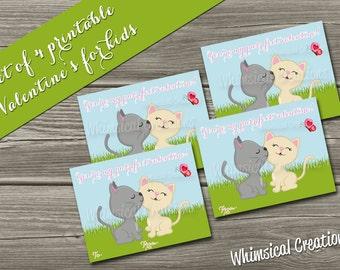 INSTANT DOWNLOAD Kids Valentines Cards (Set of 4 - Purr fect Valentine Design) DIY Printable