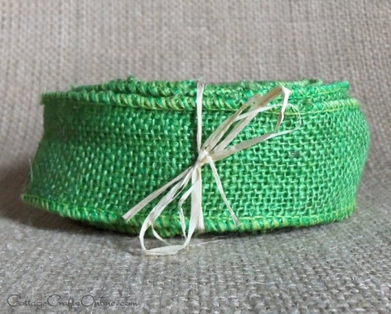Lime green burlap wired ribbon 1 1 2 inch by for Green burlap ribbon