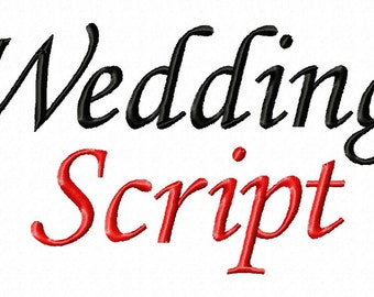 "Wedding Script Machine Embroidery Font - Sizes 1"",2"",3"",4"" - BUY 2 Get 1 FREE"