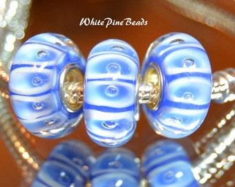 Blue Murano Lampwork Glass Bead Fits European  Charm Bracelets
