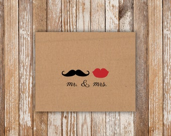 Mr & Mrs Thank You Card - Physical Cards. Thank You. Wedding Shower Thank You Cards.