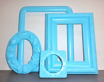 Aqua Light Blue 4 Piece Ornate Picture Frame Set Beach Cottage Shabby Chic