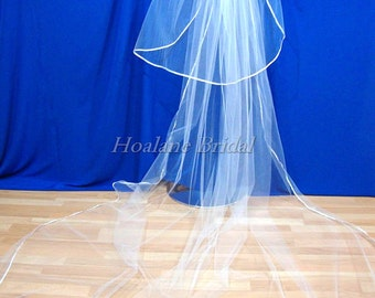 Cathedral Length Veil with Ribbon Edge, Cathedral veil, ribbon edge veils, bridal veils