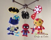 Baby Mobile - Baby Crib Mobile - Super Hero Mobile - Nursery Super Heroes Mobile - Calling all superheroes with their own symbol