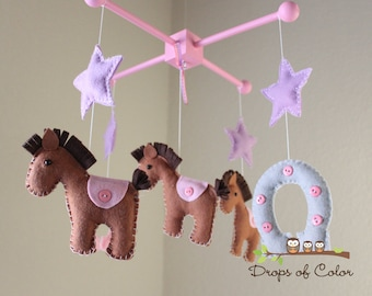 Baby Mobile - Baby Crib Mobile - Nursery Cowgirl Decor - Horses Mobile - Girl Nursery - Kids Room - Horseshoe Horse Stars - Pick your colors