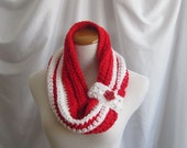 Cowl Chunky Bulky Button Crochet Cowl:  Red and White with Red Rose Flower Button