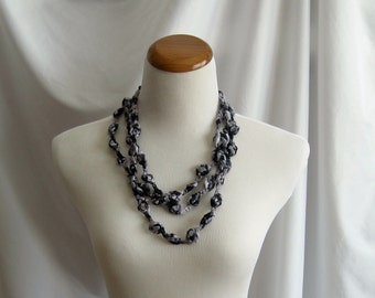 Crochet Necklace - Bobbles in Shades of Black and Gray