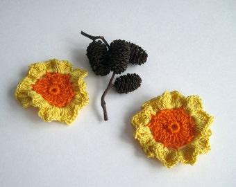 2 Crochet Flowers - Orange with Yellow Ruffles - Set of 2