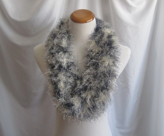 Infinity Fur Scarf - Charcoal Gray, Winter White and Black - Crochet Fashion Accessory