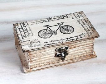 Jewelry Box Beige Decorative Book Box Jewelry Organizer Treasury Chest Bicycle Keepsake Box Memory box Book Treasury Wooden Box