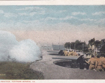 Fortress Monroe, Virginia, Target Practice - Linen Postcard - Unused (K)