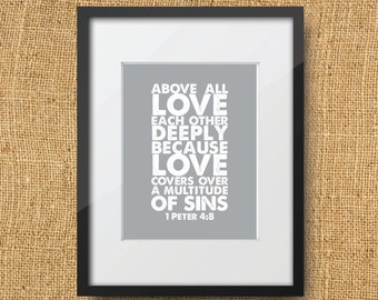 Love Scripture Printable Digital Art Print | Instant Download Bible Verse 1 Peter 4:8