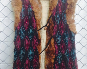 Vintage BOHO Suede and Fur VEST