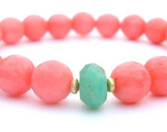 happiness & acceptance. chrysoprase and pink coral bracelet