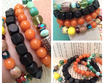 Multi-colored Stackable Bracelets Vintage Beads & Gemstones Orange Jade, Turquoise, Hand Painted, Glass Beads