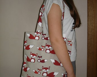Handmade Linen Tote Bag With Foxes - Canvas Tote Bag - Natural Linen Bag - Foxes Pattern - With Foxes
