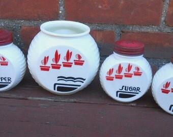 Vintage Milk Glass Range Shaker Set