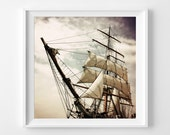 "Peter Pan Photograph Unframed / nursery gift white cream aqua boat sinister goth ship sails art / photography print / ""Pirate's life for me"""